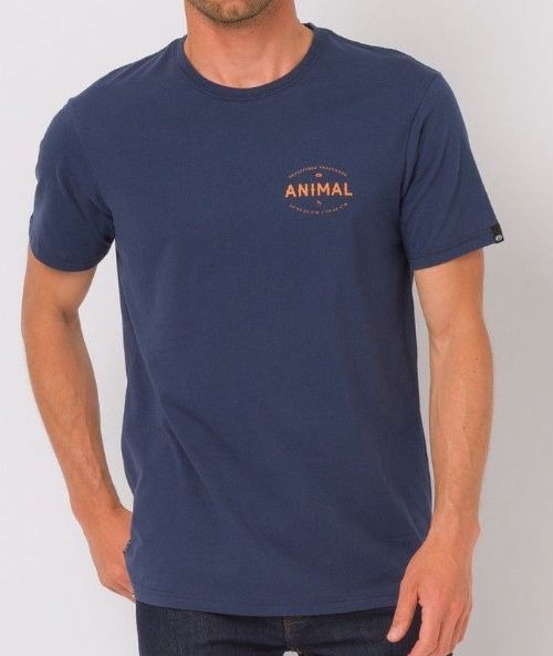 ANIMAL MENS T SHIRT.NEW RALE NAVY BLUE COTTON SHORT SLEEVED TOP CREW TEE 8W 27 F
